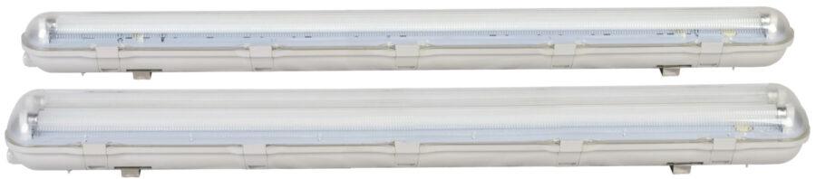 Feuchtraum-Wannenleuchte IP65 für LED-Röhren mit Durchgangsverdrahtung